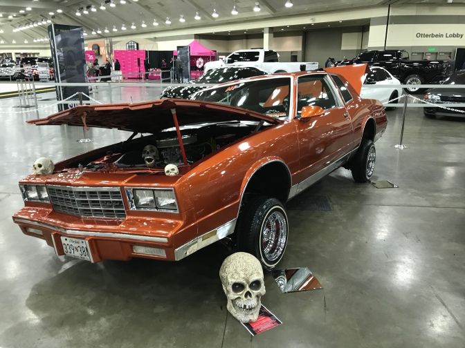 Chevrolet Monte Carlo on small tires, with hydraulics.