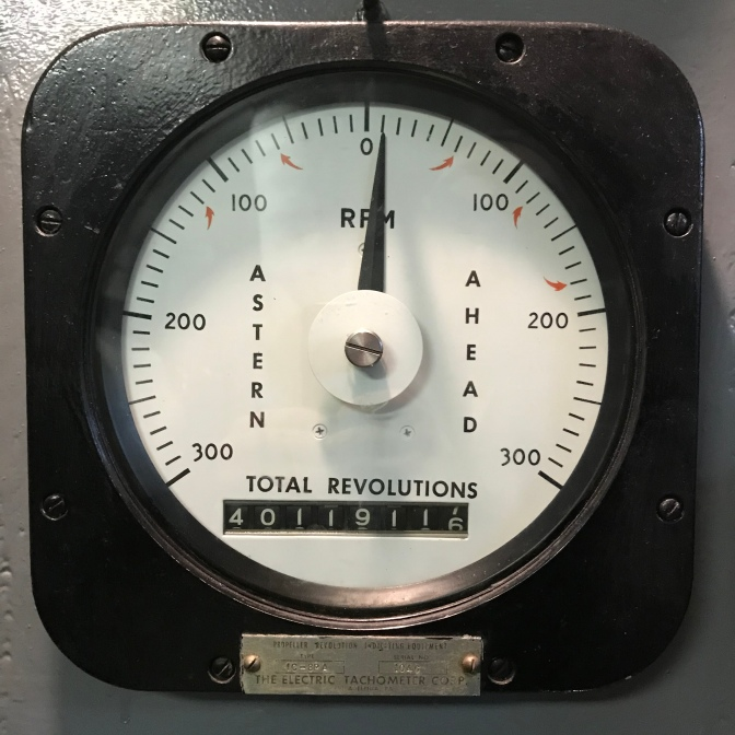 Electric Tachometer with readings for 100 200 300 rpm for astern and ahead, and a counter for total revolutions that reads 40119116.