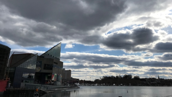 View of National Aquarium and USS Torsk.