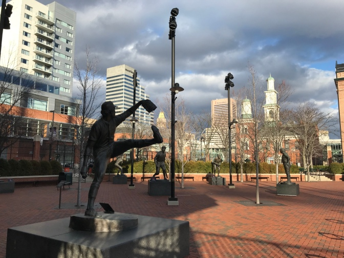 Sculpture garden of famous Baltimore Orioles players.