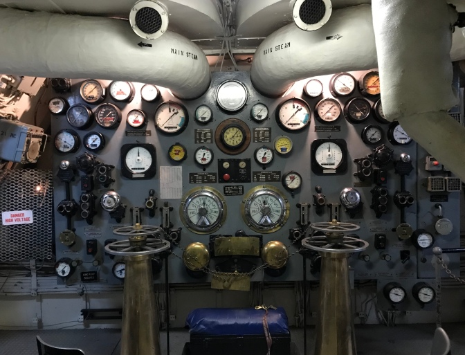 Control panel for ship's engines.