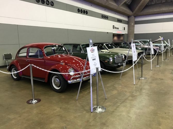 Row of classic cars.