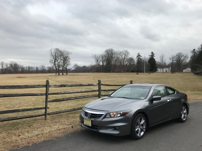 2012 Honda Accord coupe, parked in front of Princeton Battlefield.
