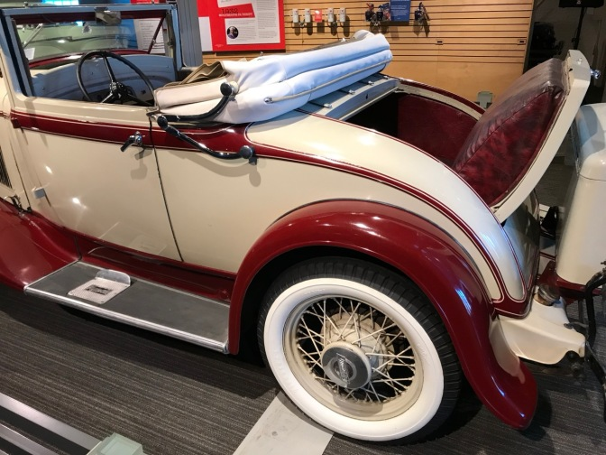 1932 Plymouth convertible with opened rumble seat.