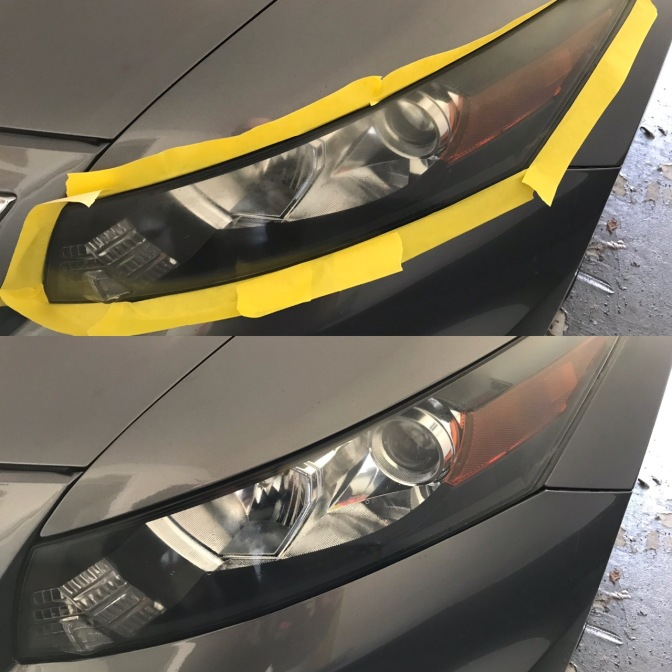 Two photos: top is of cloudy headlight on 2012 Honda Accord, surrounded by yellow masking tape. Bottom is same headlight, but clearer.