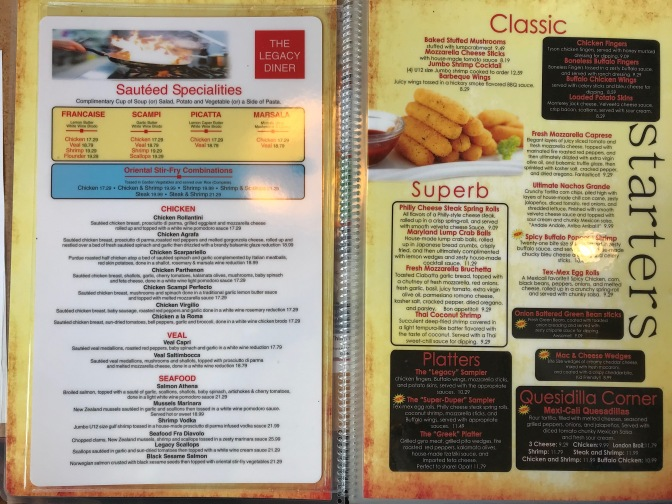 Menu opened- left side page says SAUTEED SPECIALITIES. Right side page says STARTERS with list of appetizers.
