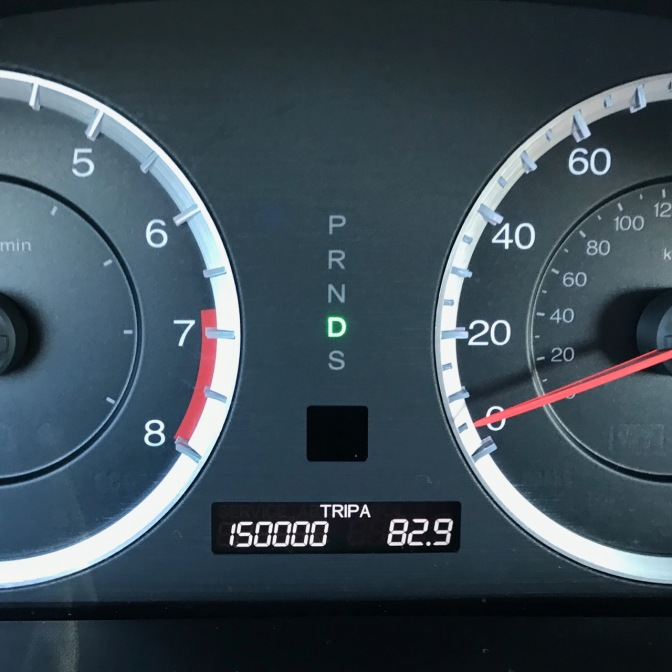 Car odometer reading 150000 TRIP A 82.9