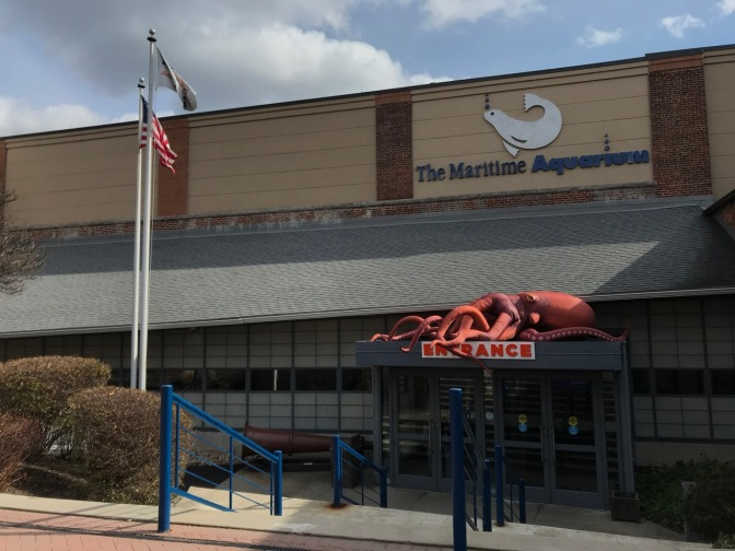 Exterior of The Maritime Aquarium with an inflatable red octopus over the entrance.