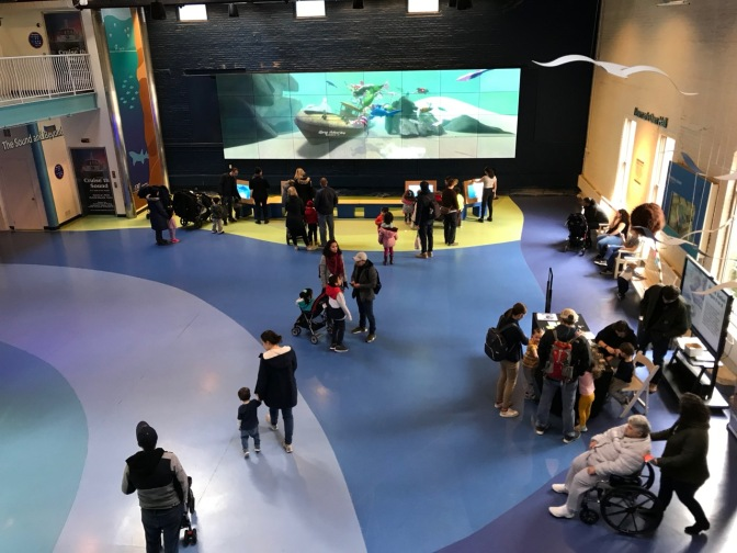 View of lobby of Aquarium, with multiple families walking through, some watching a large video screen on far wall.