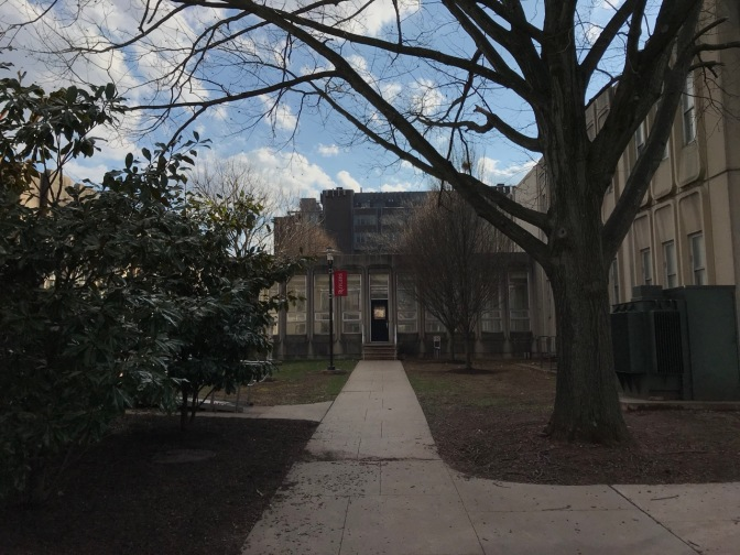 Exterior of buildings in Busch Engineering Quad at Rutgers.