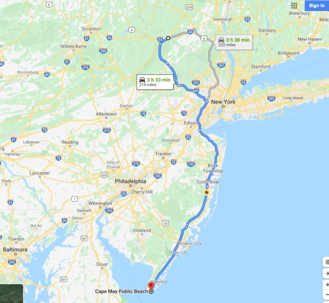 Map of New Jersey with blue route from Tri-States Monument in north of state to Cape May in south.
