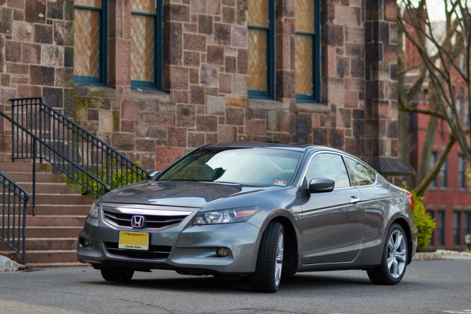 2012 Honda Accord, parked in front of stone church.
