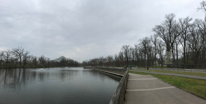 Esplanade along banks of Raritan River in Johnson Park.