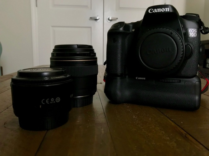 50mm f1.8 lens, 85mm f/1.8 lens, and Canon EOS 70D camera body.