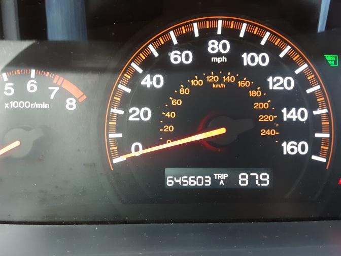 Car odometer reading 645603 TRIPA A 87.9
