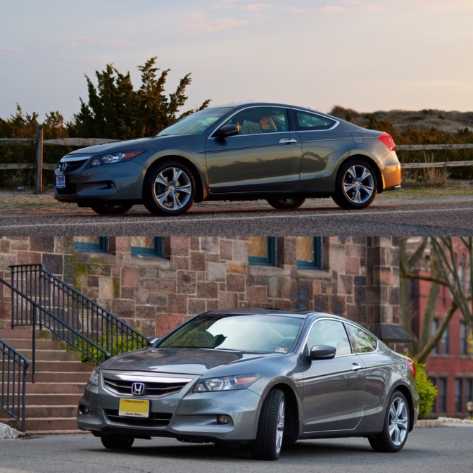 Split-screen photo with Honda Accord along beach road on top, and Honda Accord coupe parked beside stone building in bottom frame.