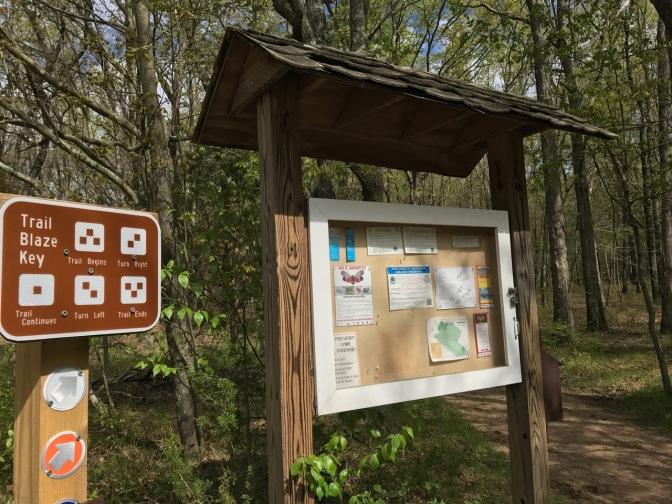 Signage at trail head, including Trail Blaze Key.