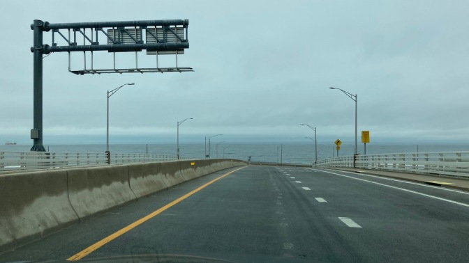View of Atlantic Ocean from top of bridge on Route 36.