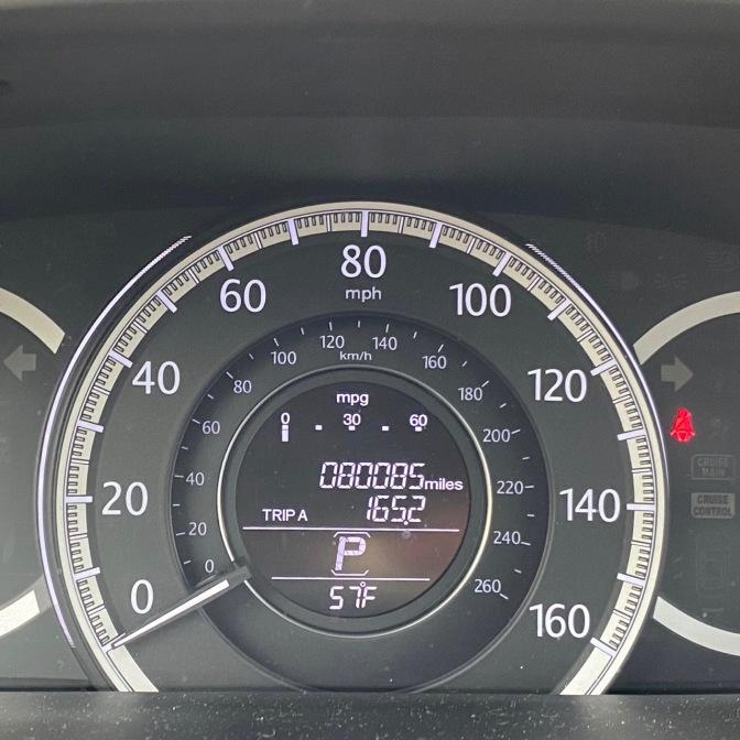 Car odometer reading 080085 TRIP A 165.2