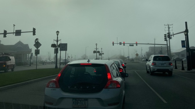 JFK Boulevard in Sea Isle City, covered in fog.
