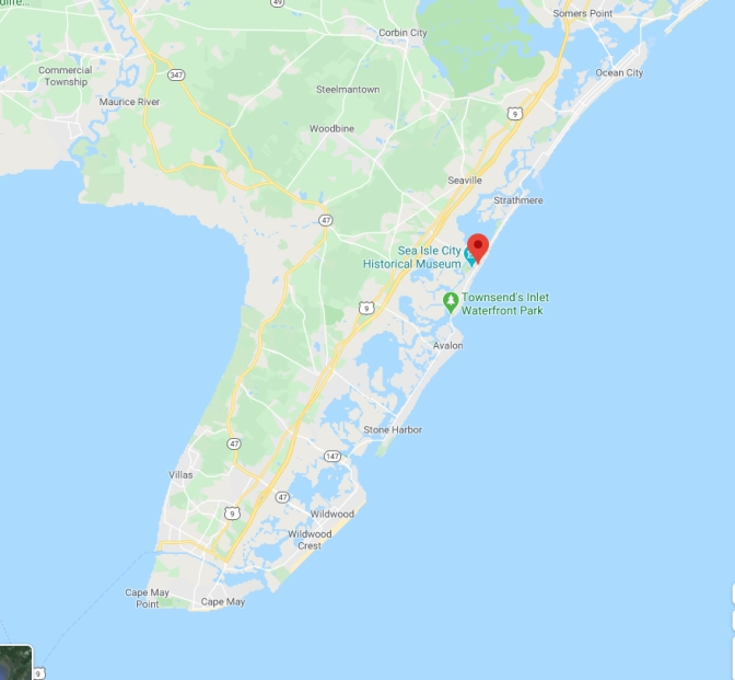 Map of southern New Jersey with red pin in location of Sea Isle City