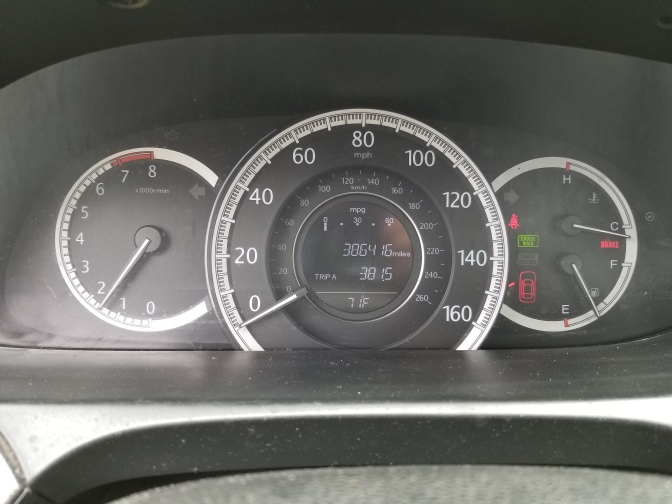 Car odometer reading 386416