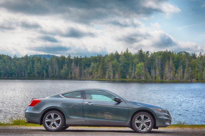 2012 Honda Accord parked in front of Quiver Pond.