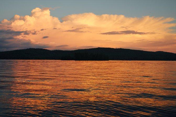 View of Fourth Lake at sunset.