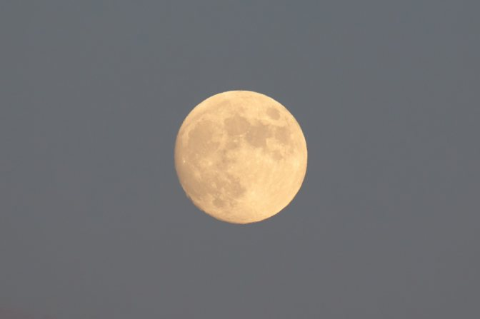 Full moon in sky.