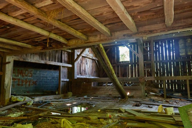 Interior of abandoned barn.