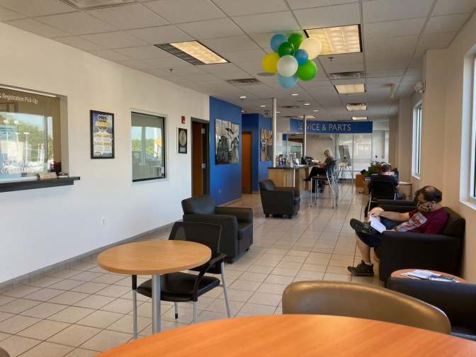 Interior of waiting room for service center at Honda dealer.