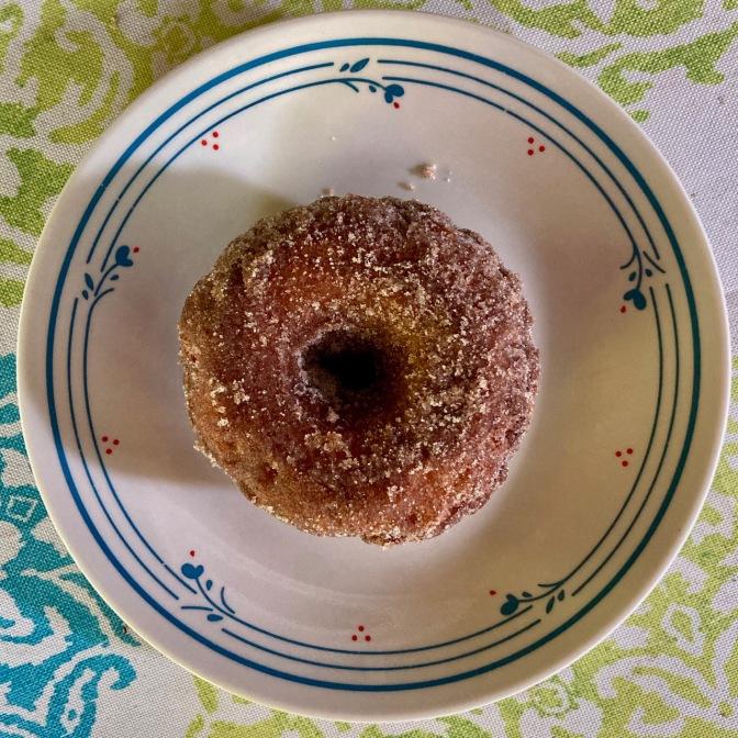Cinnamon donut on a plate.