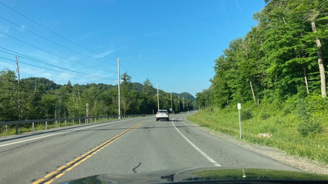 View of mountains in distance along Route 28.