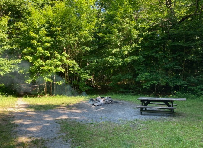 View of camp site with smoldering fire in stone pit. A picnic table is to the right.