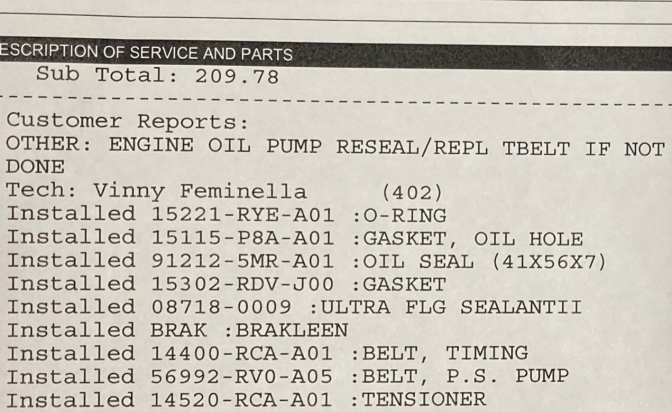 List of parts for oil seal repair on customer service write-up.
