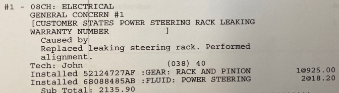 Write-up of customer order for power steering rack repair.