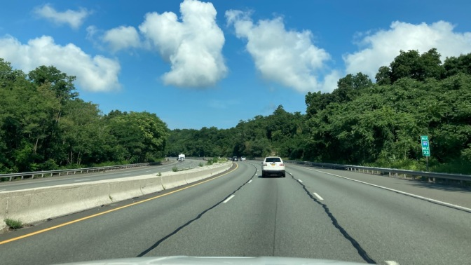 Scene of blue skies above I-287 in New Jersey.
