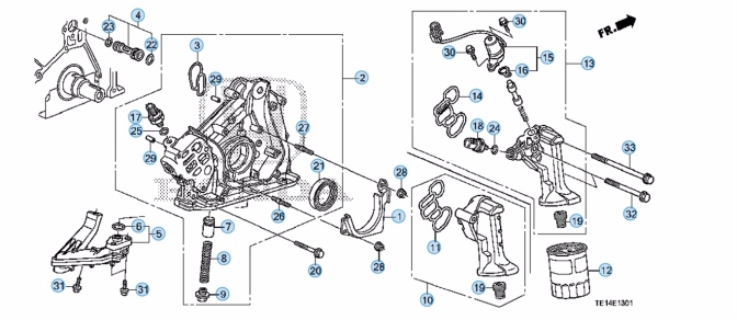 Diagram of all parts for oil pump and oil filter housing.