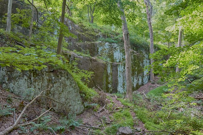 Rocky cliff face in South Mountain Reservation.