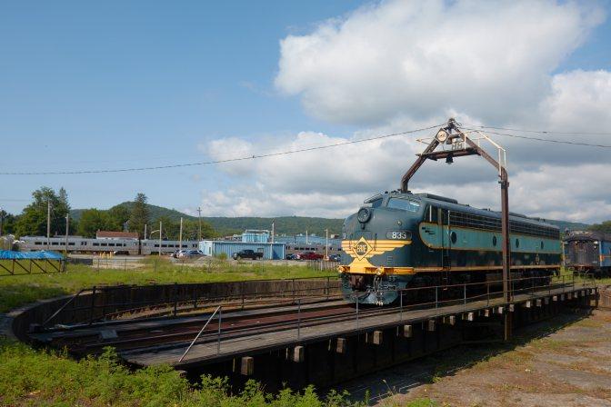 Erie railroad engine 833 on turntable.