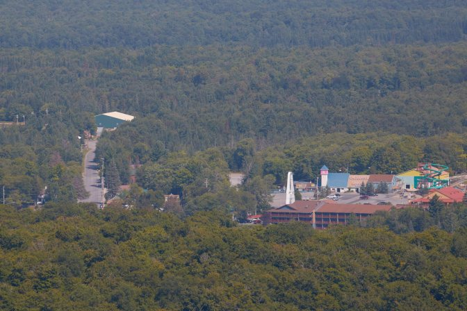 View of downtown Old Forge from top of mountain.