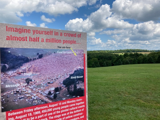 Sign with overhead image of concert site. On it is written IMAGINE YOURSELF IN A CROWD OF ALMOST HALF A MILLION PEOPLE.