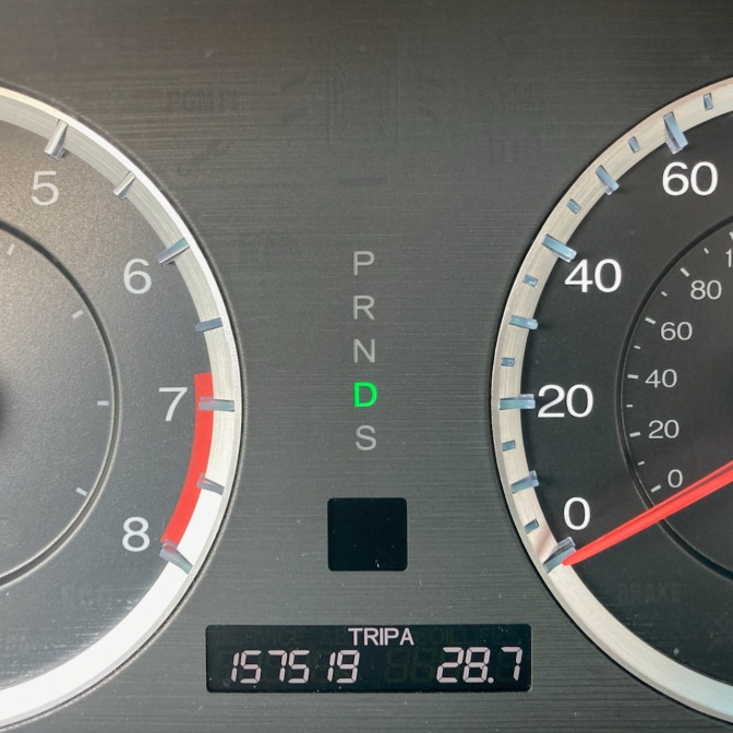 Car odometer reading 157519 TRIP A 28.7