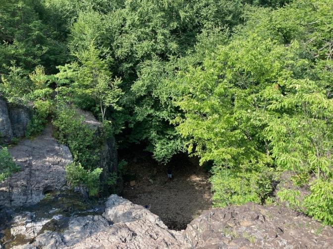 View looking downward at Hemlock Falls.
