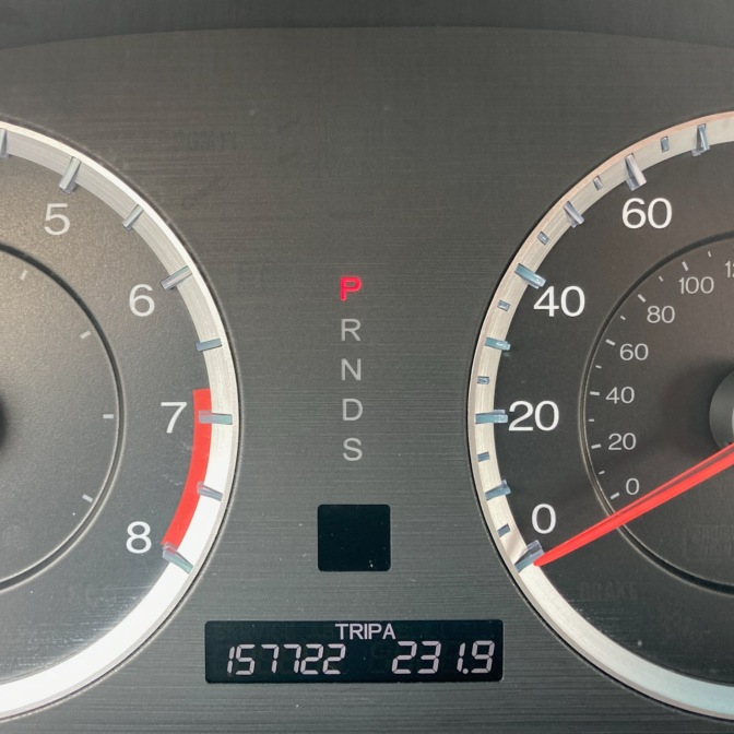 Car odometer reading 157722 TRIP A 231.9