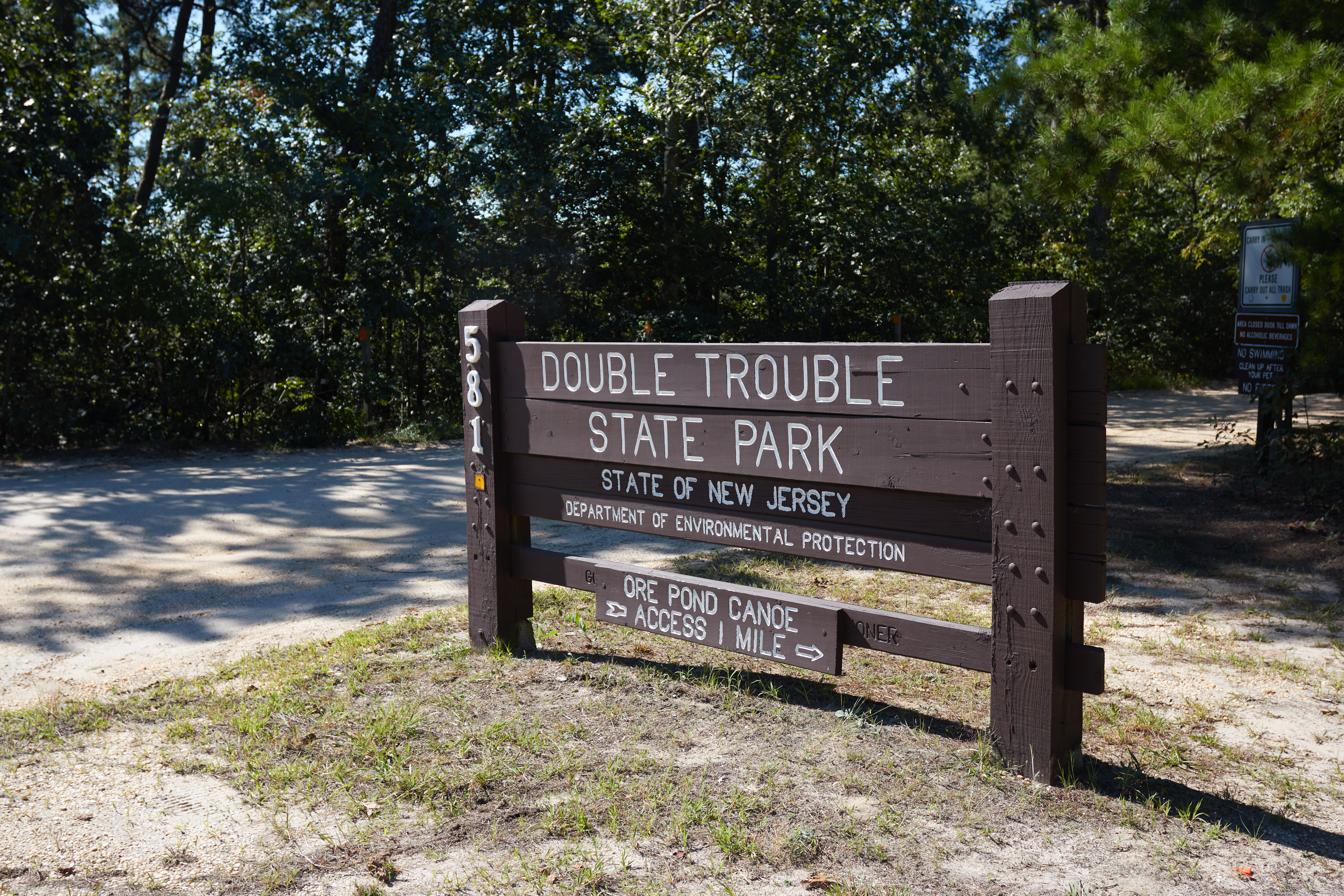 Sign that reads DOUBLE TROUBLE STATE PARK
