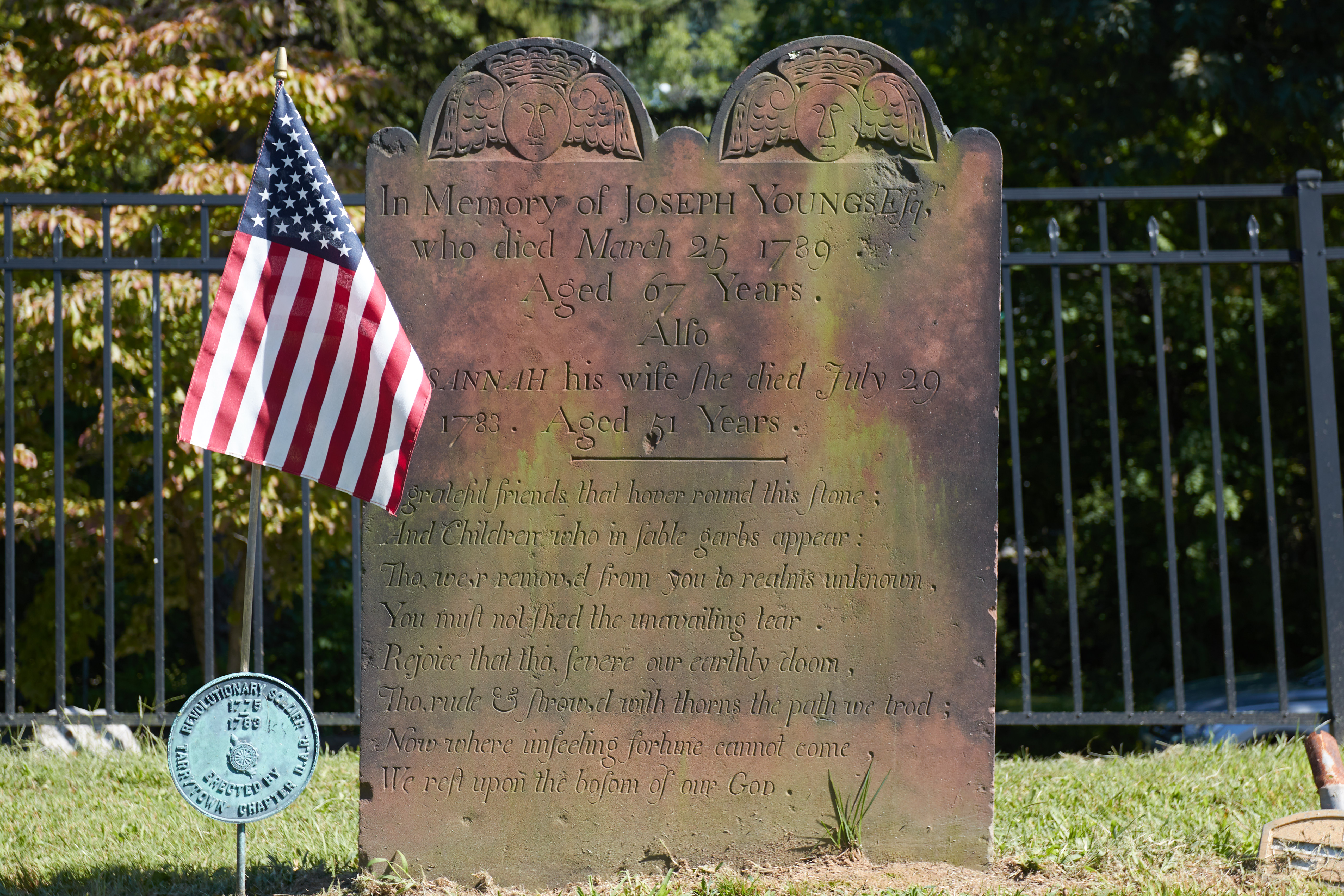 Tombstone for Joseph Young and Sannah, his wife.
