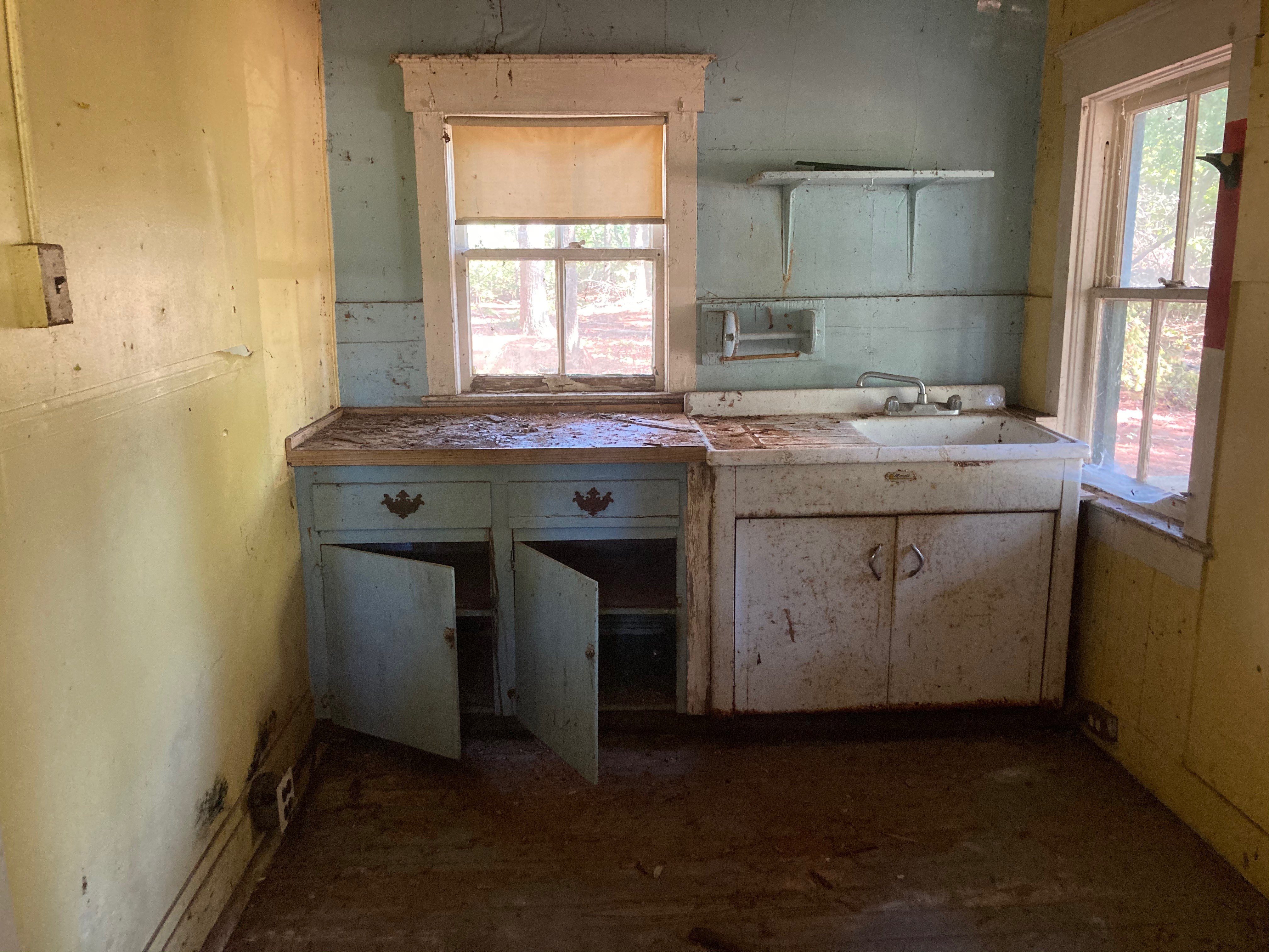 Dilapidated kitchen of Foreman House.