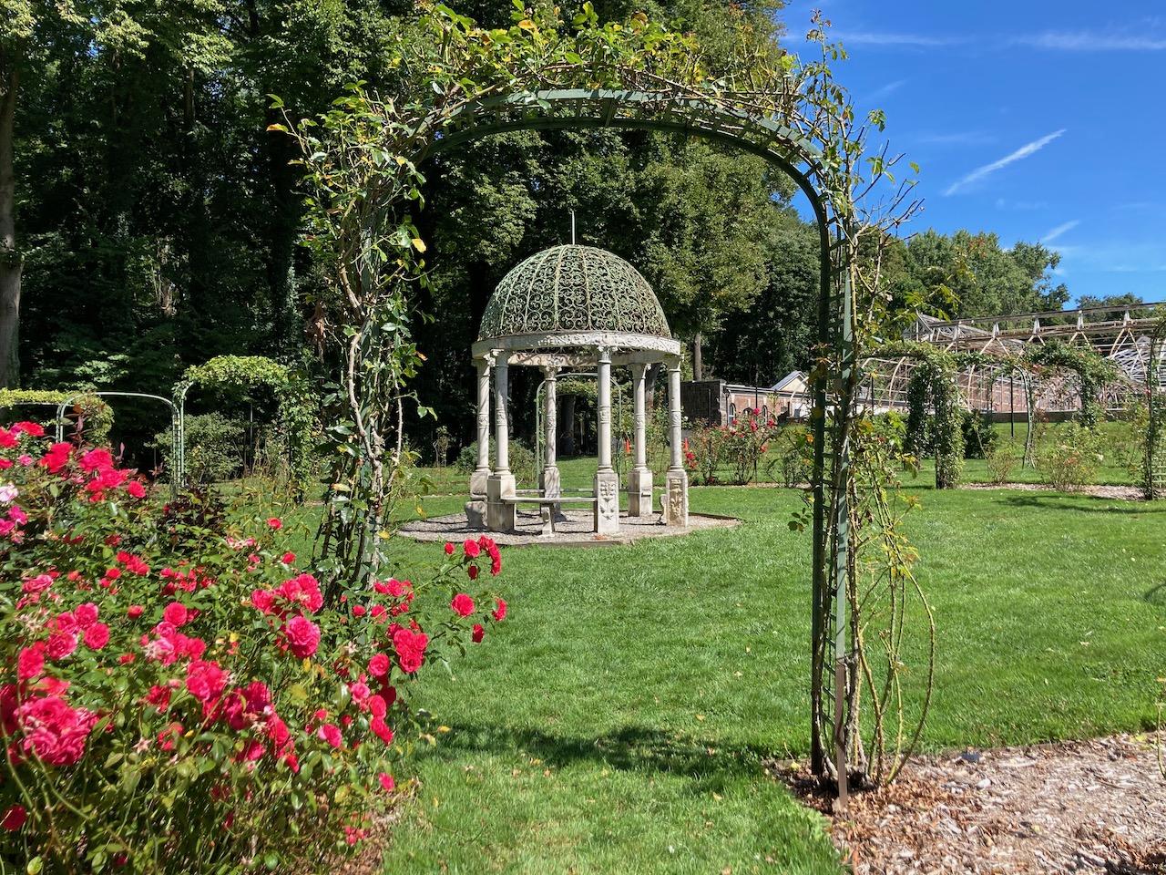 View of Rose Garden through arbor.