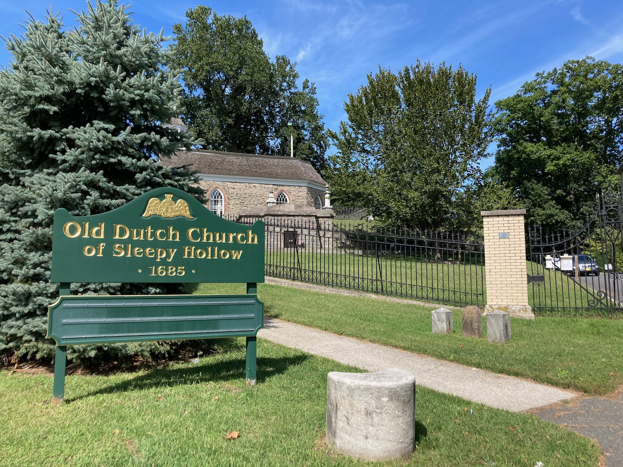 Sign that reads Old Dutch Church of Sleepy Hollow.